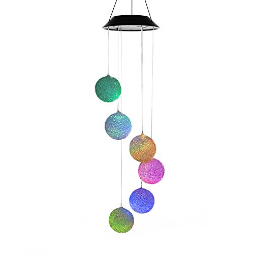 Changing Color Solar Power Wind Mobile, AceList Spiral Spinner Windchime Portable Outdoor Decorative Romantic Windbell Light for Patio, Yard, Garden, Home, (Holiday Hanging Mobile)