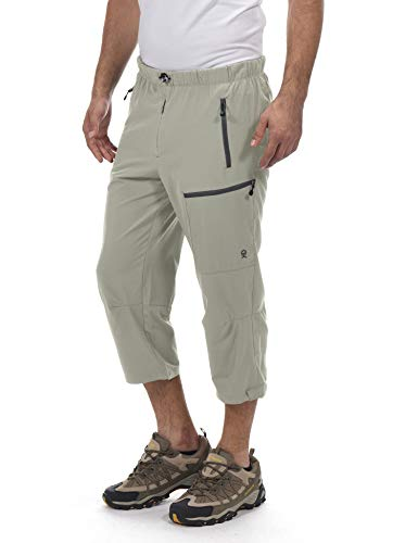 (Little Donkey Andy Men's Outdoor Stretch Quick Dry Capri Hiking 3/4 Pants Khaki Size S)