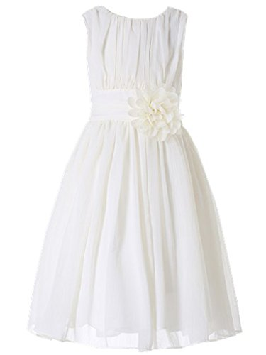 Bow Dream Little Girls Elegant Ruffle Chiffon Summer Flowers Girls Dresses Junior Bridesmaids Ivory Cream 5