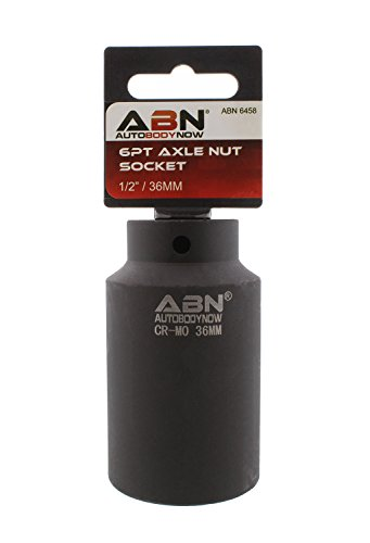 ABN Axle Nut Socket, 36mm, 1/2in Drive, 6 Point - Universal for All Vehicle 6pt Installation, Removal, Repair