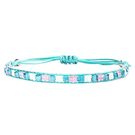 Minagoo Bohemian Wave Bracelet Set for Women Wax Coated Braided Rope Beach Jewelry