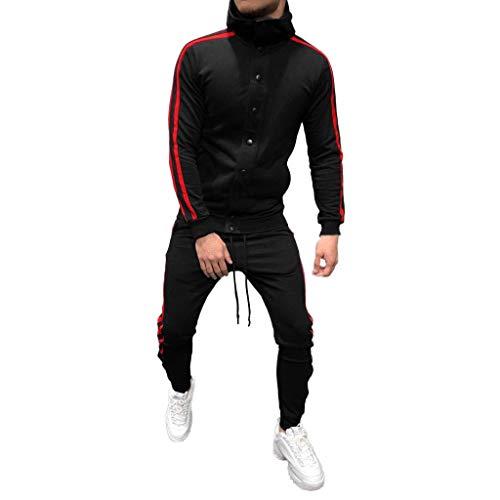 Men's Casual Button Sweatshirt Tracksuit Top Pants Sets Sport Suit