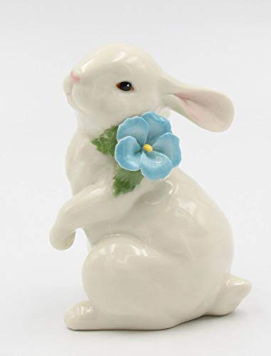 (Cosmos Gifts Fine Porcelain Bunny Rabbit with Blue Pansy Flower Figurine, 4-7/8