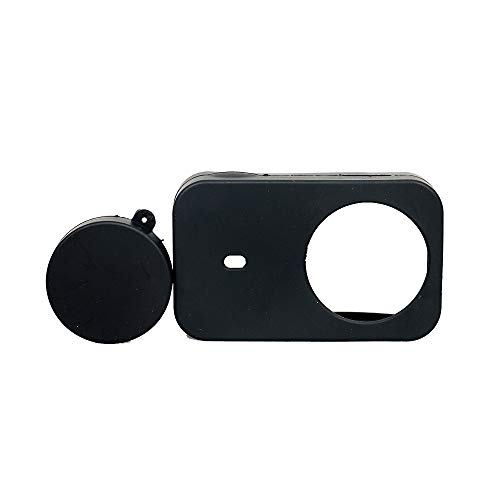Yifant Silicone Case Cover with Lens Cap for Xiaomi Mijia 4K Mini Action Camera Expansion Accessories Soft Protector Shockproof Scratch-Proof Gel Protective Set (Black(1 pc Case+1 pc Lens Cap))