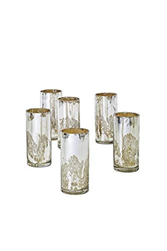 Serene Spaces Living Set of 6 Antique Silver Cylinder Vases, Vintage-Style Handmade Mercury Glass Finish for Weddings, Parties, Events, Measures 4.5