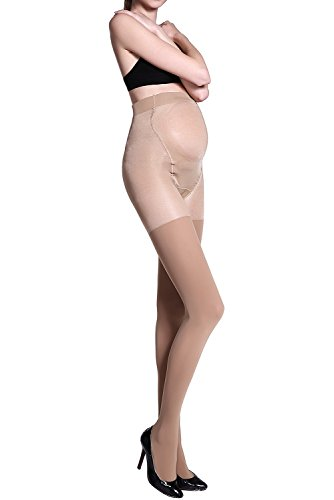 96fcf41e99535 Stocking Fox Women's Maternity Tights 40-Denier Pregnant Soft Stretch  Pantyhose 2-Pack