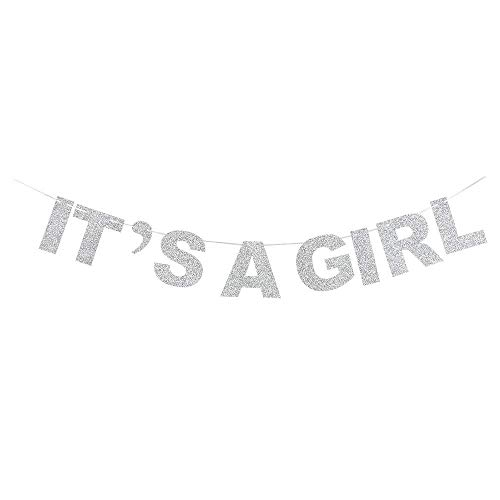It's A Girl Silver Glitter Theme Bunting Banner for Celebrate Baby Girl Shower Baby Girl Birthday Party Creative -