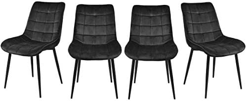 Velvet Dining Chairs Set of 4 Upholstered Dining Side Chairs w/Metal Legs Velvet Cushion Seat and Back