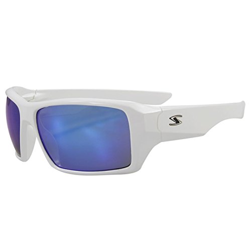 Serfas Auger Sunglasses with Blue Multi-Coat Lens, White, Universal - White Ray Wayfarer Bans