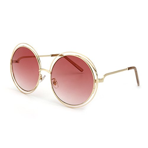 ROYAL GIRL Vintage Round Sunglasses Women Double Circle Frame Clear Lens Glasses (Light Red Gradient, - Rim Wire Vintage Glasses