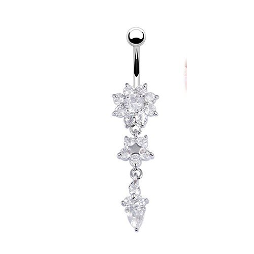 KeyZone Women's Popular Special Crystal Flower Dangle Navel Belly Button Ring Body Piercing Jewelry Silver Color