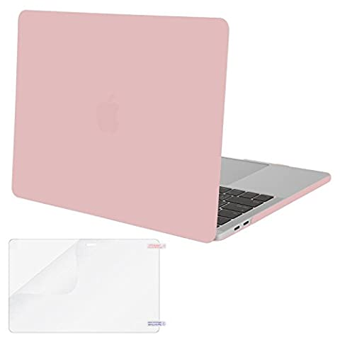 Mosiso MacBook Pro 13 Case 2017 & 2016 Release A1706/A1708, Plastic Hard Case Shell Cover with Screen Protector for Newest Macbook Pro 13 Inch with/without Touch Bar and Touch ID, Rose (Macbook Pro Rubber Cover 13 Inch)