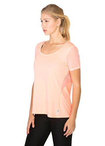 RBX Active Women's Short Sleeve Scoop Neck Tee w/Mesh Inserts Melon L