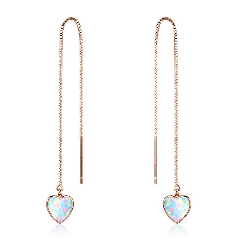 Heart Threader Earrings Opal Threader Earrings 18K Rose Gold Plated Sterling Silver Long Chain Earring for Women