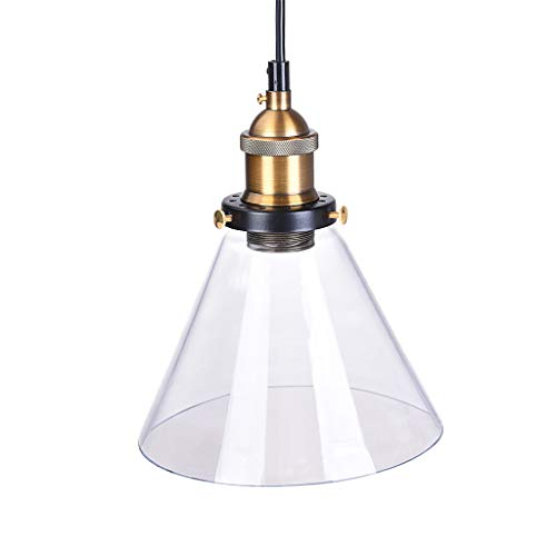 Iusun Hanging Ceiling Lamp Shade Vintage Edison Industrial Retro Loft Glass Pendant Light -Light Source:LED Bulb/Edison Bulb(Does Not Include Bulbs)-for Home Holiday Party Decor - Ship From USA (B)