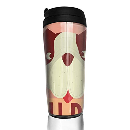 Custom Reusable Coffee Cup Bull Dog Tumbler Vacuum-Insulated Travel Mug Hot Or Cold,12 Oz.with Lids -