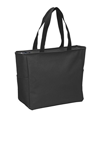 Essential Zip Tote Polyester Canvas Tote Bag with Zipper Top Closure and Two end pockets (1, Black) Black Zipper Tote