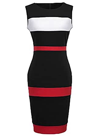 WOOSEA Women's Sleeveless Voguish Colorblock Stripe Cocktail Party Pencil Dress (Small, Black)