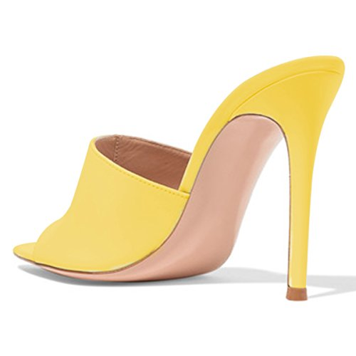 Yellow Mid Cm Fashion Sandals Women 15 on High 4 Shoes Toe 10 Open FSJ US Suede Slide Slip Sexy Size Mules Heels wE1FHq5q