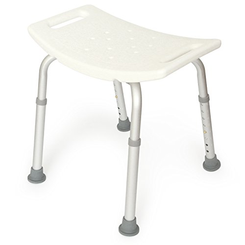 Deluxe Seat Bar Stool - Deluxe Shower Seat with Adjustable Legs and Anti-Slip Rubber Feet. 300lbs Capacity. Tool Free Assembly.