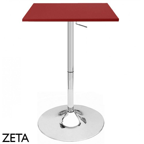 Zeta Contemporary Adjustable Bar Table - Cabernet Red by Modernhome