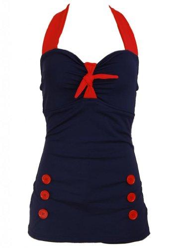 Bow Front Navy Blue Vintage Pin up Rockabilly Women's Swimsuit Swimwear - Medium