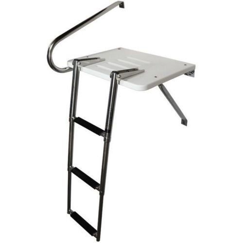 3 Step Stainless Rails Outboard Swim Platform Boat Ladder Telescoping