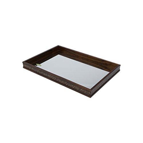 WoodArt Wood and Mirror Decorative Tray- Serving Platter (16x12x2