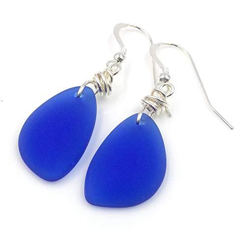 Handmade Turquoise Navy Earrings Ocean Blue TEAL SEASCAPE EARRINGS Fan Scallop Scottish Seascape Earrings Sea Green Handmade Gift
