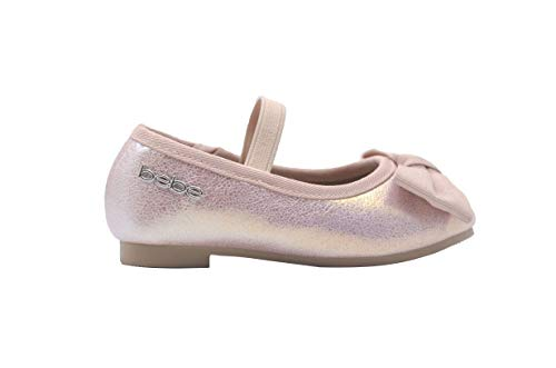 bebe Toddler Girls Ballet Flats 8 M US Toddler Iridescent Mary Jane Ballerina Shoes with Bow Light -