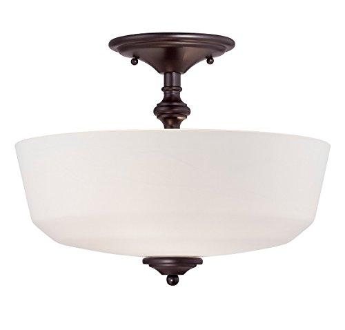 Semi Flush 2 Light with English Bronze Finish Incandescent Bulbs 14 inch 200 Watts