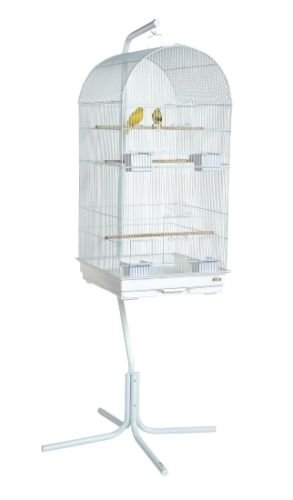 SKY Jaula para pájaros de cacatúa, con soporte, color blanco ...