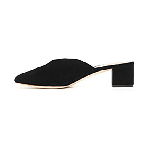 Pumps Casual Shoes Round on Block YDN Slip Heels Black Toe Women Low Clogs Mules Slide wWfvxRg7