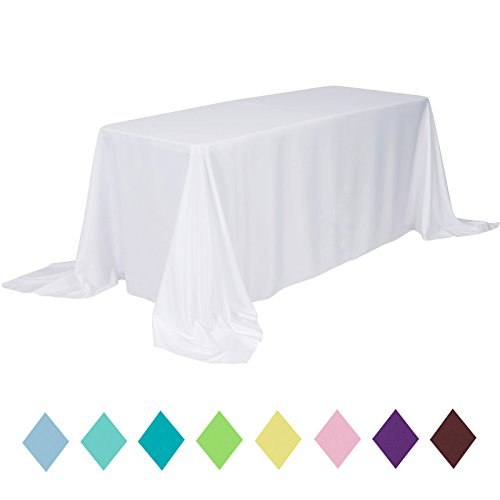 VEEYOO 90 x 132 inch Rectangular Solid Polyester Tablecloth Wedding Restaurant Party Home, Whtie by VEEYOO