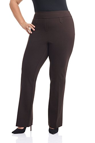 Rekucci Curvy Woman Secret Figure Knit Bootcut Plus Size Pant w/Tummy Control (22W,Brown) -