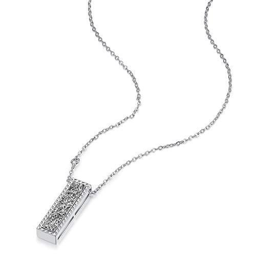 WISHMISS Women Girl Silver Necklace in Natural Drusy Genstone (Black)
