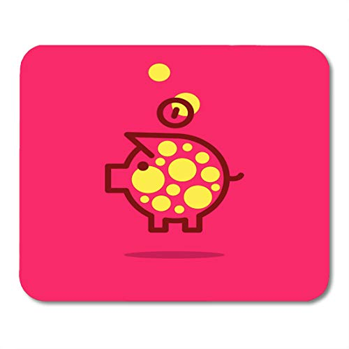 Boszina Mouse Pads Yellow Animal Pink Pig of Abstract Piggy Bank Purple Snout Coin Mouse Pad for notebooks,Desktop Computers mats 9.5