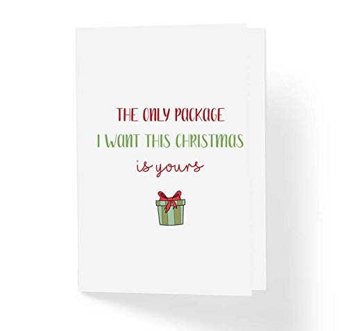 Naughty Christmas Card for Boyfriend Husband- The Only Package I Want Is Yours - Funny Xmas Holiday Love Card - Blank Inside Greeting Card with Envelope 5