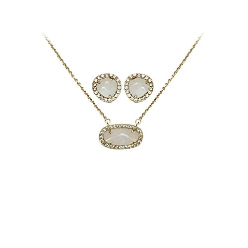 14k Semi Precious Stones - Kitsch Guiding Gems Semi-Precious Stone Pendant Necklace & Earring Set, 14K Gold Plated Sterling Silver & Pave CZ (Moonstone)