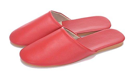Cattior Femmes Solide Confortable Pantoufles En Cuir Pu Dames Pantoufles Rouge