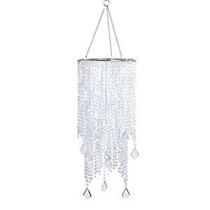 FlavorThings 2 Tiers Clear Beaded Hanging Chandelier,W8.5″ X H20.5″,Great idea for Wedding Chandeliers Centerpieces Decorations and Any Event Party Home Decor (Clear Non-Iridescent)
