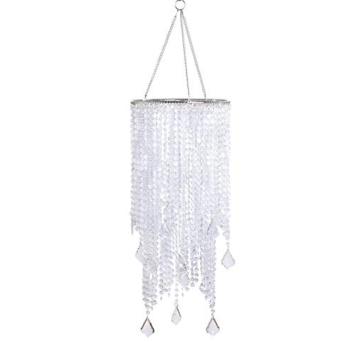 FlavorThings 2 Tiers 20.5 Tall Clear Beaded Hanging Chandelier,Great idea for Wedding Chandeliers Centerpieces Decorations and Any Event Party Home Decor (Clear Non-Iridescent)