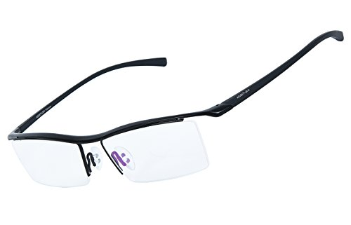 Agstum Pure Titanium Half Rimless Business Glasses Frame Optical Eyeglasses Clear Lens (Black)