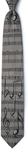 Music Notes Gray Microfiber Tie