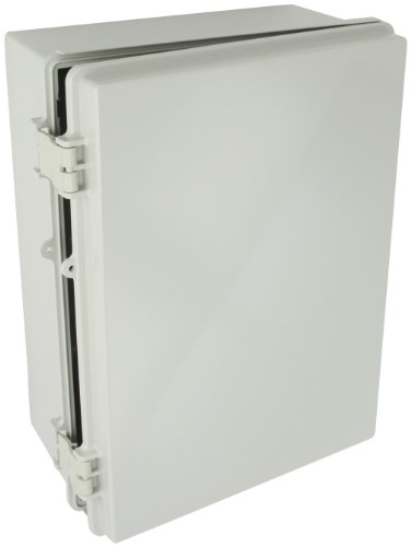 BUD Industries NBF-32326 Plastic Outdoor NEMA Economy Box with Solid Door, 15-47/64 Length x 11-51/64 Width x 6-9/32 Height, Light Gray Finish