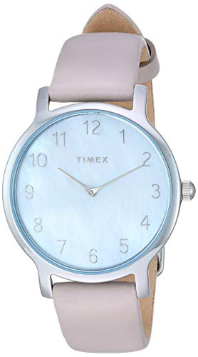 Timex Women's TW2T35900 Metropolitan 34mm Gray/Silver-Tone/MOP Leather Strap Watch - Wrist Watch Leather Brass