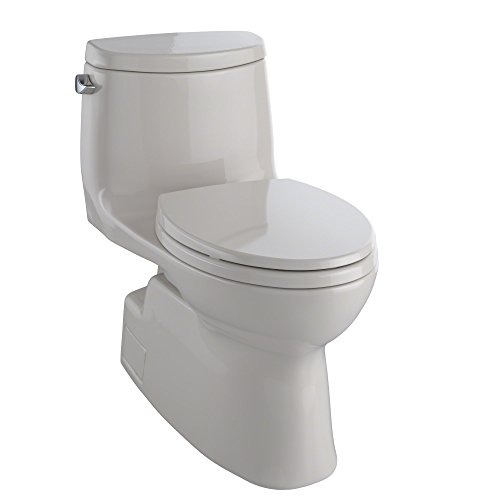 - TOTO Carlyle II One-Piece Elongated 1.28 GPF Universal Height Skirted Toilet with CEFIONTECT, Sedona Beige