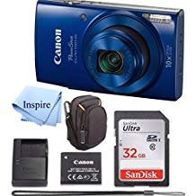 (Canon PowerShot ELPH 190 Digital Camera COMPLETE BUNDLE w/10x Optical Zoom and Image Stabilization Wi-Fi & NFC Enabled + ELPH 190 Case + SD Card + USB Cable +32 GB MEMORY)
