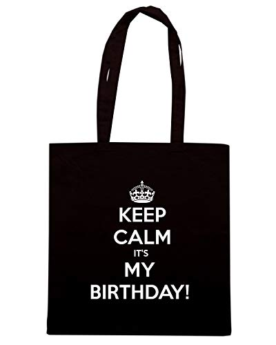 Speed Shirt Borsa Shopper Nera TKC2708 KEEP CALM IT'S MY BIRTHDAY