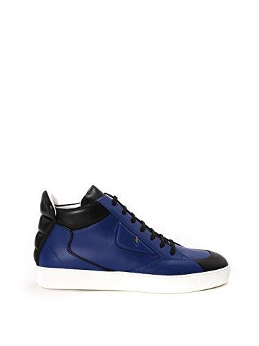 FENDI MEN'S 7E0999SRKF07LJ BLUE/BLACK LEATHER SNEAKERS (Fendi Mens Sneakers)